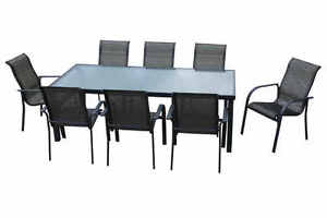 OUTDOOR Furniture 9 Piece Setting Aluminium Dining Table 8 Chairs New