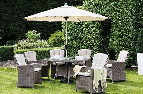 brand new garden furniture savannah 6 seater round rattan dining set with parasol