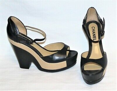 CHANEL Two Tone Black & Tan Leather Ankle Strap Platform Wedge Heels sz - Black Leather Look Ankle Strap