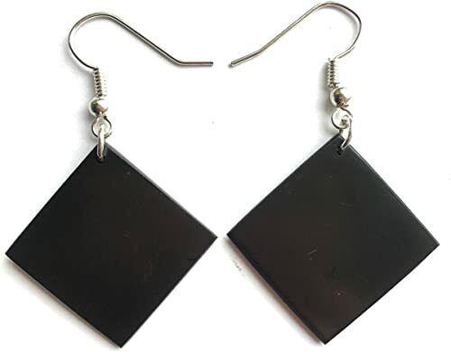 Shungite Earrings EMF 5G Wi Fi Protection Jewelry - Rhombs - 1 pair