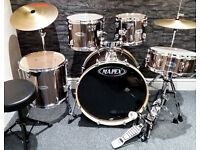 Mapex QR 5pc Drum Kit in Gun Metal. Excellent Condition.