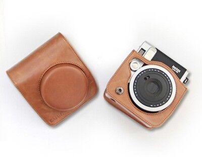 Leather Camera Case Bag For Polaroid Instax Mini90 Retro Brown