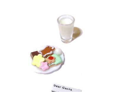 Dollhouse Cookies and Milk and Readable Note for Santa 1:12 Doll House - Cookies And Milk