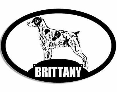 3x5 inch Oval Brittany Silhouette Sticker (Dog Spaniel Bird - Spaniel Silhouette