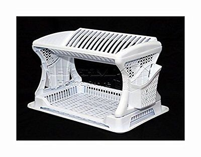 Double WHITE Cutlery Kitchen Large Dish Drainer Tray Utensil Plate Rack & Holder