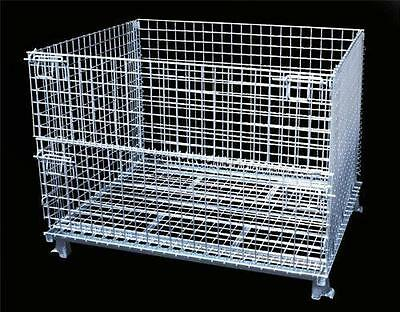 FOLDING WIRE CONTAINER WIRE CAGE STEEL BASKET WIRE INDUSTRIAL BIN