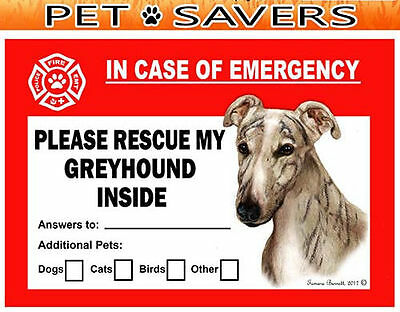 Greyhound Pet Savers Emergency Rescue Window Cling Sticker