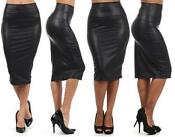 Womens Black Knee Length Skirt