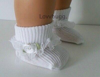 "Lovvbugg White Socks w Lace n White Rose for 15"" - 18"" American Girl Doll n Bitty or Preemie"