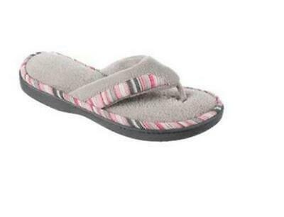ISOTONER Women's MandyThong GRAY Microterry w Stripe House Slippers Sturdy Sole