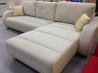 Cream modern sofa bed, corner, chaise. Fabric - great condition - delivery available! Reduced price!