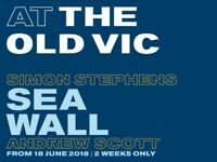 Ticket Tuesday 26th June 'THE SEA WALL' Old Vic Andrew Scott Front Row Circle