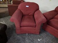 Matching Red sofa and Armchair