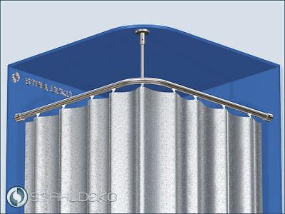 Eckige Duschvorhangstange L-Form barrierefrei - Weiße Barriere Frei Barriere