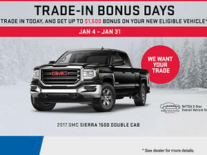 GM Trade-in Bonus days. Receive up to $1,500 Towards a new car!