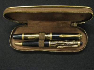 SET 2 VERY RARE GOLDRING MARKED 1950's FOUNTAIN PEN 585 14K NIB PENCIL CASE