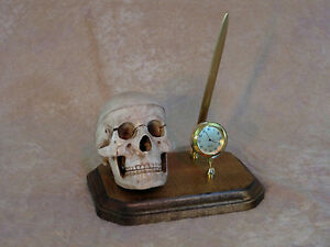 Skull-Pen-Holder-w-Clock-Halloween-Prop-Skull-NEW