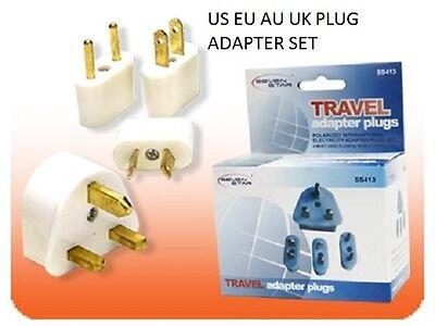 US EU UK AU International Travel Adapter AC Power Plug Charger Converter 4pc Set ()