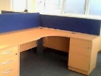 R/H Radial Beech Office/Home Desk & Matching Pedestal - Free Delivery & Free Assembling