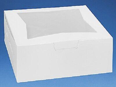 Pack Of 25 White 12x12x5 Window Bakery Or Cake Box