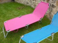 Pink and blue Flat Folding Multi Position Garden Sun Bed x 2