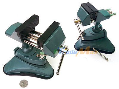 Table Vacuum Base Bench Vise Aluminum Body Rotates And Tilts Rubber Line Jaws