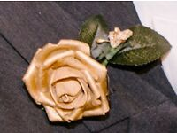 Gold buttonholes wedding/ prom