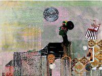 80cm x 75cm , collage, acrylic. 2015