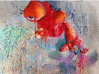 original 2015, collage, acryl , 90cm x 60cm, glass frame