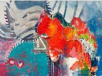 very large painting canvas 2016, acryl, 160cm x 200cm , sign