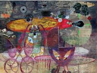 TWINS 2015,dig.printing ,collage, acrylic , 90x105 on canvas , sign ENA BAN