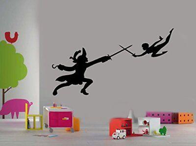 Peter Pan and Captain Hook Cartoon Silhouette Kids Room Wall Truck Window decal