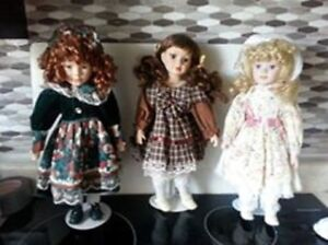 3 Gorgeous Porcelain Dolls with Stands