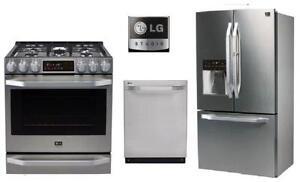 LG Studio LSFXC2476S 36in Counter-Depth Door-In-Door French Door Refrigerator, LSSG3016ST 30in Slide-In GAS Range, LSDF9