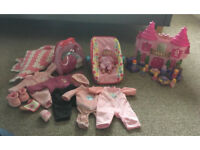 Toy Doll Baby Clothes Carseat Princess Castle