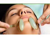 Jade Roller Handbag size skincare tool plus instructions for lymphatic drainage massage on yourself