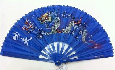 CHINESE MARTIAL ART  BLUE PLASTIC KUNG FU TAI CHI TRAINING FAN
