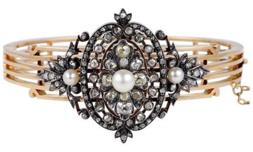 4.35ct Rose Cut Diamond Antique Look 925 Silver Pearl Gemstone Bracelet