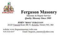 Ferguson Masonry.  Brick.  Block.  Stone.  Chimney repairs