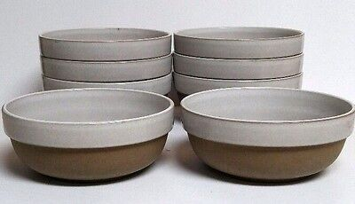Midwinter Stoneware Natural Soup Cereal Coupe Bowl 8 Pc Lot Vintage Brown White