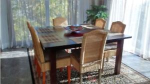 Large Square Dining Table in Black Teak