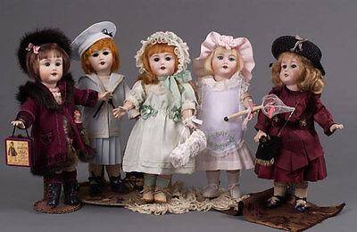 "Jumeau Bleuette  Bru Doll 11"" Wardrobe 5 dresses shoes jacket hat boots  pattern"
