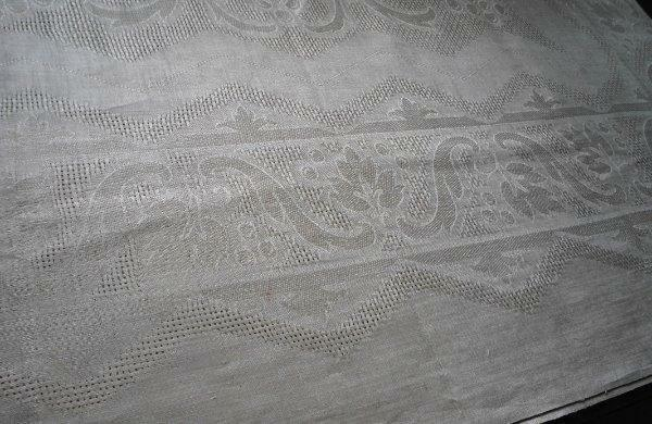 NWT Vintage Linen Damask Tablecloth Napkins Grapes Leaf Drawn Thread Unused