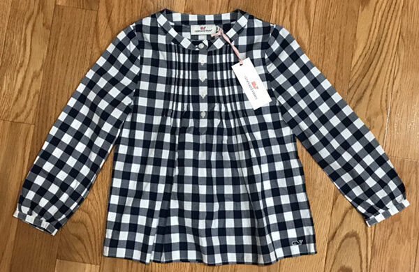 Girls Vineyard Vines Lookout Gingham Popover Top Shirt Size XS (5/6) NWT!!