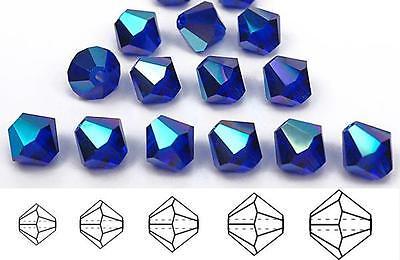 Czech MC Glass Bicone Beads (Rondell/Diamond) Cobalt AB, navy blue AB, -