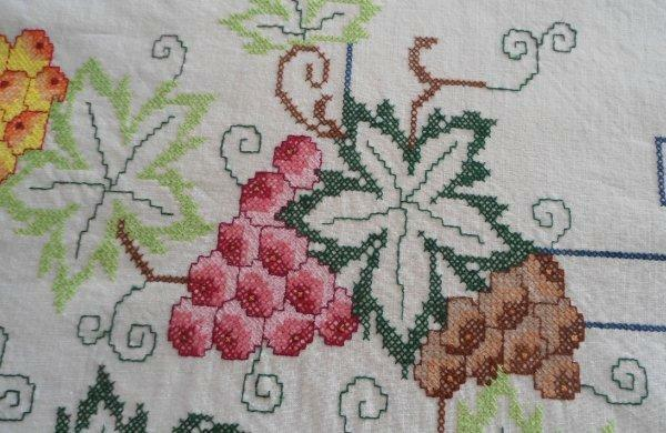 """Vintage Embroidered Tablecloth Red Berries Green Leaves Grapes 82"""""""