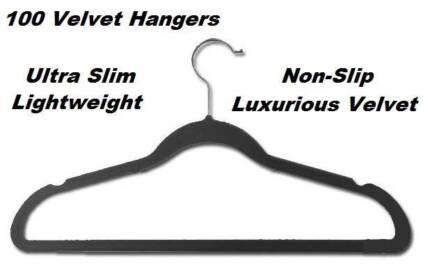 100 Black Space Saving Velvet Coat Hangers