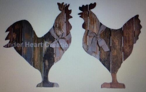 """PAIR Slat Wood """"ROOSTER & HEN"""" Country Rustic Primitive Decor Distressed 19""""/18"""""""