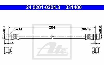 ATE Bremsschlauch für Ihr Auto für BMW 2er-Reihe 6er-Reihe 24.5201-0204.3