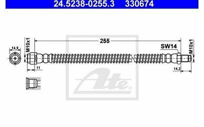 ATE Bremsschlauch für Ihr Auto für MERCEDES-BENZ S - KLASSE E 24.5238-0255.3
